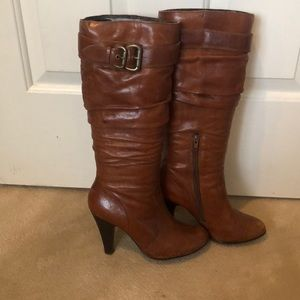 Women's real leather tan boots.